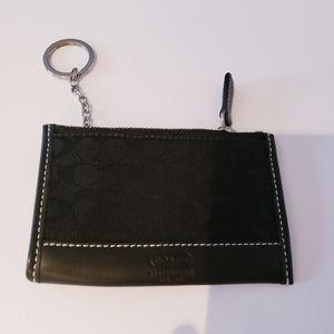 Coach black keychain change holder card holder